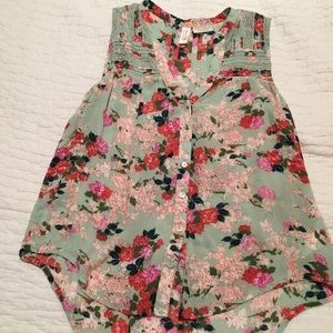 Anthropologie Floral Tank
